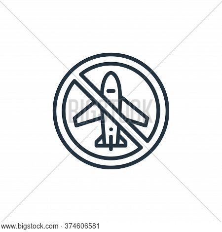 no plane icon isolated on white background from virus transmission collection. no plane icon trendy