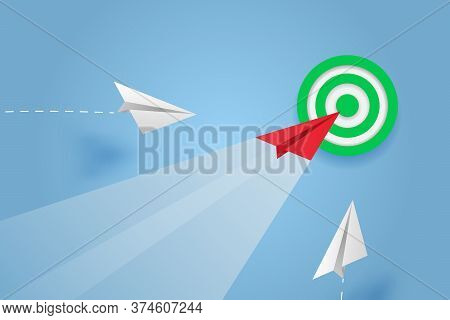 Paper Plane Go To Success Goal Vector Business Financial Concept Start Up, Leadership, Creative Idea