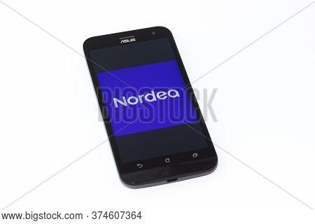 Kouvola, Finland - 23 January 2020: Nordea Mobile App Logo On The Screen Of Smartphone Asus