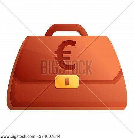 Euro Credit Bag Icon. Cartoon Of Euro Credit Bag Vector Icon For Web Design Isolated On White Backgr