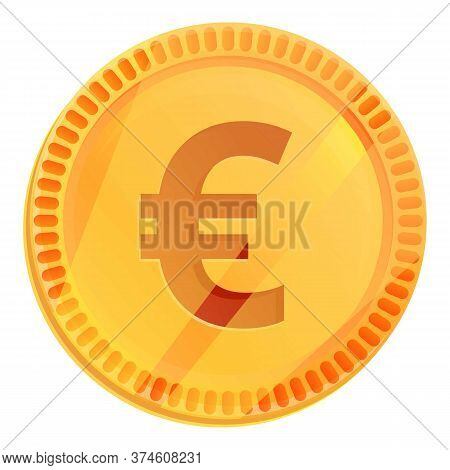 Euro Coin Icon. Cartoon Of Euro Coin Vector Icon For Web Design Isolated On White Background