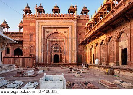 Agra, Uttar Pradesh / India - October 5, 2019: Jama Masjid Mosque In Fatehpur Sikri In Agra, Uttar P