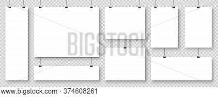 Realistic Blank Paper Sheets Hanging On Binder Clip. White Vector Poster With Shadow In A4 Format. D