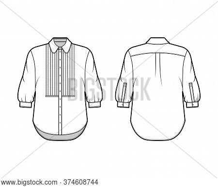 Shirt Technical Fashion Illustration With Bib, Button Down Front Opening, Round Collar, Elbow Sleeve