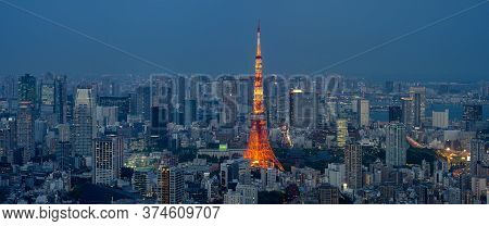 Tokyo / Japan - April 20, 2018: Tokyo Tower And Tokyo Cityscape At Night, View From The Roppongi Hil