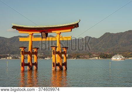 Miyajima, Hiroshima Prefecture / Japan - December 21, 2017: Itsukushima Shinto Shrine In Miyajima Is