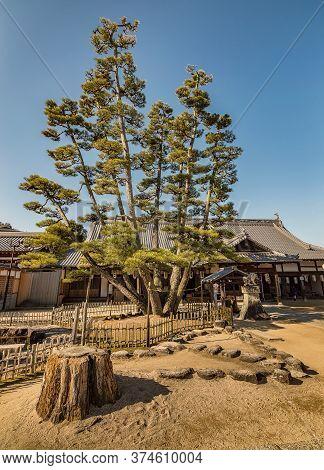 Miyajima, Hiroshima Prefecture / Japan - December 21, 2017: Itsukushima Shinto Shrine On The Itsukus