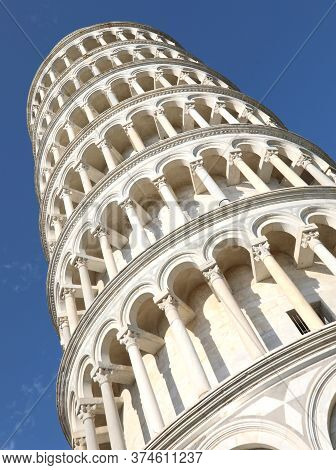 Famous White Leaning Tower Of Pisa In Italy