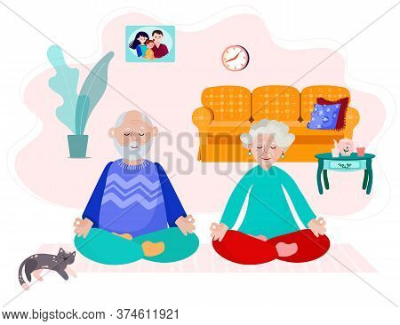 Old Couple Stay Home And Do Yoga. Elder Man And Woman Meditate In Room. Grandparents Do Exercise Tog