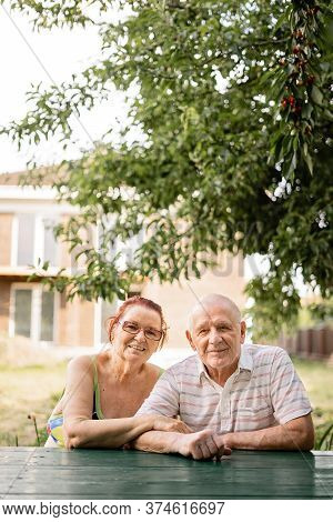 Caucasian Couple Of Silent Generation In Their 80s. Happy Senior Healthy Man And Woman