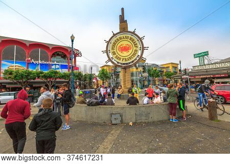 San Francisco, California, United States - August 14, 2016: Signboard Of Fishermans Wharf Waterfront