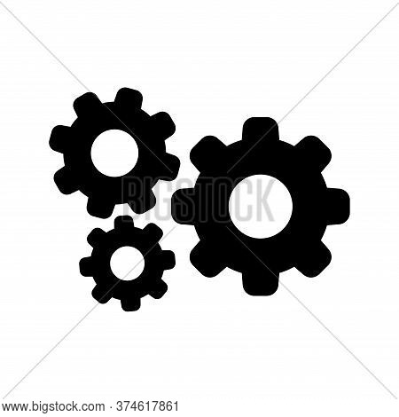 Cog Black For Mechanization Icon Isolated On White, Gear Symbol For Button Black Icon For Progress W