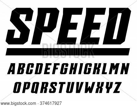 Speed And Sport Letters Set. Tall Bold Italic Style Alphabet. Font For Gaming, Automotive, Race. Vec