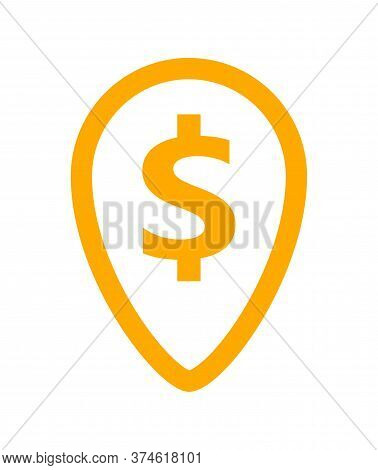Dollar Currency Symbol In Pin Point For Icon, Coin Dollar Money Yellow Orange, Dollar Money Symbol I