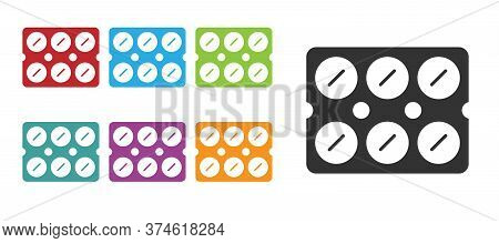 Black Pills In Blister Pack Icon Isolated On White Background. Medical Drug Package For Tablet, Vita