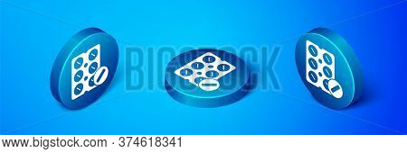 Isometric Pills In Blister Pack Icon Isolated On Blue Background. Medical Drug Package For Tablet, V