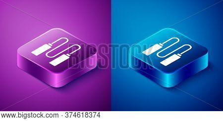 Isometric Jump Rope Icon Isolated On Blue And Purple Background. Skipping Rope. Sport Equipment. Squ