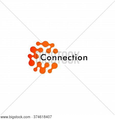 Round Logo Concept, Connected Points Creative Logotype For Technology, Science Research And Other Di