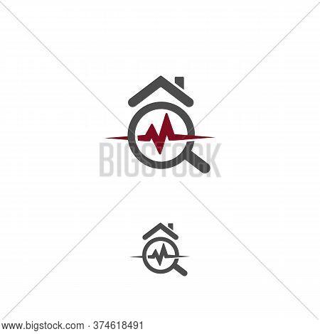 House Healthcare Icon. Real Estate Durability Test Logo. Earthquake Property Damage Insurance Logoty