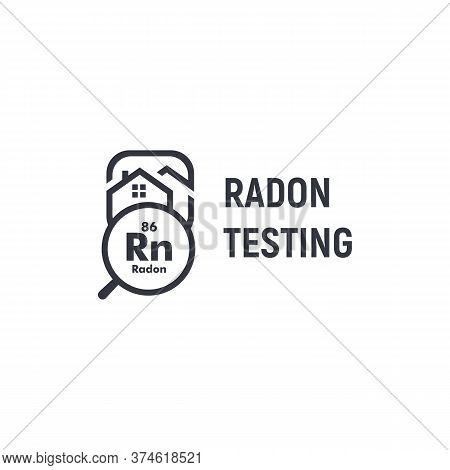 Radon Testing First Alert Kit Logotype. Home Rn Remediation Service Logo. Poisonous Chemical Element