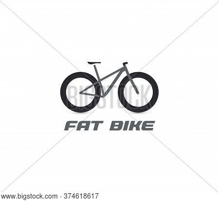 Black Fat Mountain Bike Silhouette Logo. All-terrain Bicycle Logotype. Professional Cycling Icon. Cr