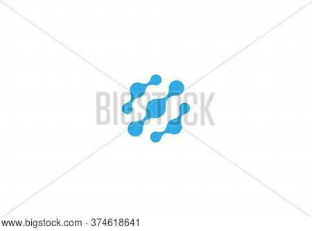 Neurons Connection Icon, Dna Logotype. Round Aqua Molecules Vector Emblem. Blue Abstract Water Bubbl