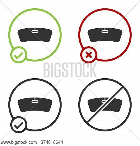 Black Windshield Icon Isolated On White Background. Circle Button. Vector Illustration