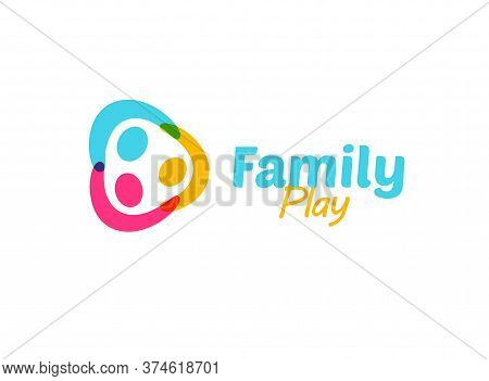 Colorful Happy Family Holding Hands Logo. Funny Children Kindergarten Or Camp Logotype. Abstract Kid
