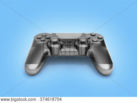 Black Gamepad Isolated On Blue Gradient Background 3d Rendering
