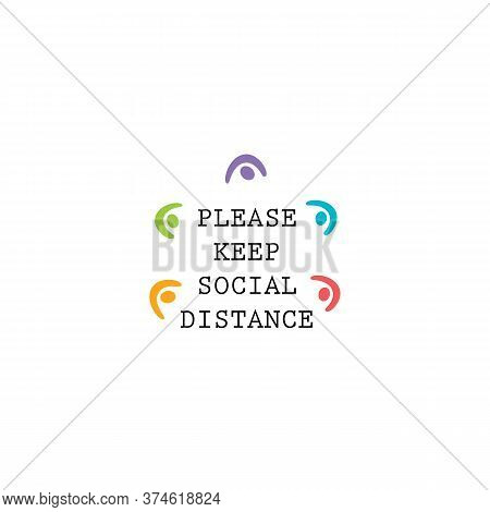 Keep Social Distance Request Icon. Coronavirus Spreading Preventative Measures Vector Illustration.