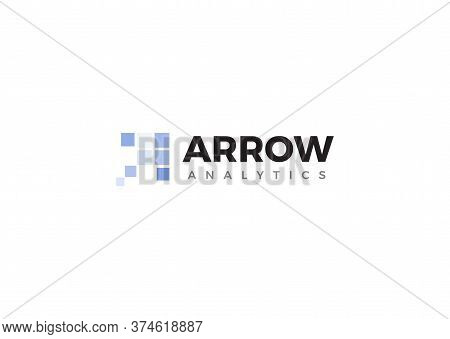 Business Analytics Logo. Company Development Analysis Logotype. Analytical Approach. Arrow Sign. Pro