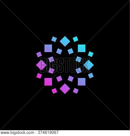 Stylized Geometrical Flower Logo. Geometric Floral Decorative Element Logotype. Neon Broken Glass, M