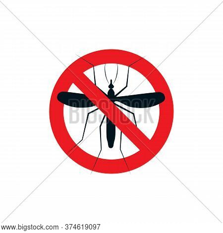 Anti Mosquito Repellent Logo. Stop Insects Spray Icon. Dangerous Bloodsucking Flying Midge Caution L