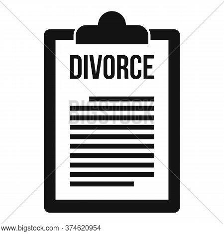 Divorce Clipboard Icon. Simple Illustration Of Divorce Clipboard Vector Icon For Web Design Isolated