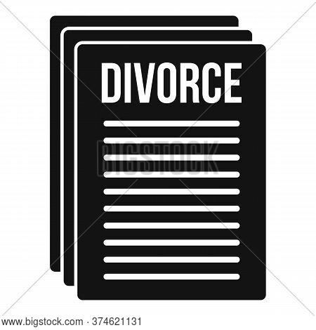 Divorce Papers Icon. Simple Illustration Of Divorce Papers Vector Icon For Web Design Isolated On Wh