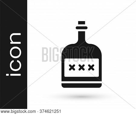 Grey Alcohol Drink Rum Bottle Icon Isolated On White Background. Vector Illustration