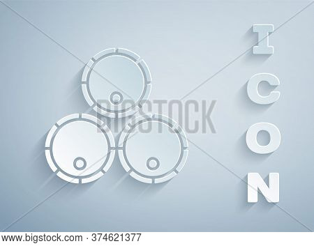 Paper Cut Wooden Barrels Icon Isolated On Grey Background. Alcohol Barrel, Drink Container, Wooden K