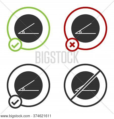 Black Acute Angle Of 45 Degrees Icon Isolated On White Background. Circle Button. Vector Illustratio