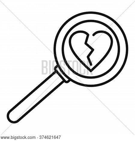 Break Heart After Divorce Icon. Outline Break Heart After Divorce Vector Icon For Web Design Isolate