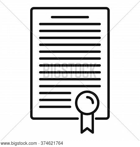 Divorce Resolution Document Icon. Outline Divorce Resolution Document Vector Icon For Web Design Iso