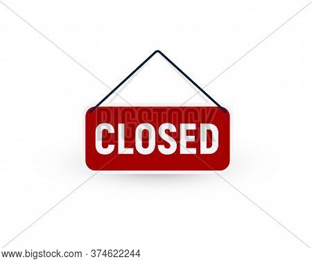 Isolated Closed Door Tablet Vector Sign. No Enter Store Symbol. Locked Room Element Illustration. Im
