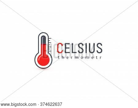 Mercury Thermometer, Celsius Scale Logo. High Temperature Measurement Medical Tool Logotype. Red And