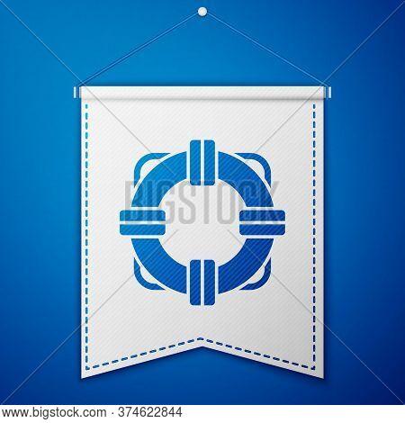 Blue Lifebuoy Icon Isolated On Blue Background. Lifebelt Symbol. White Pennant Template. Vector Illu