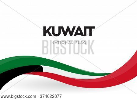 The State Of Kuwait Waving Flag Banner. Kuwaiti Patriotic Ribbon Poster. Kuwait National Day Celebra