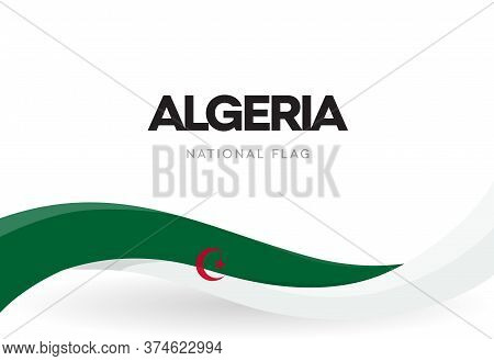 The Peoples Democratic Republic Of Algeria Waving Flag Banner. Algerian Green And White Patriotic Ri