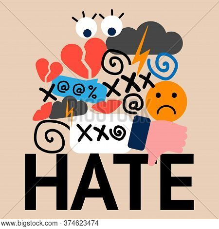 Illustration Of Hate And Cyberbullying. Online Pressure. Sexual Remarks, Or Pejorative Labels. Profa