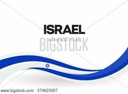 State Of Israel Waving Flag Banner. Israeli Patriotic Blue And White Ribbon Poster. Jewish Star Symb
