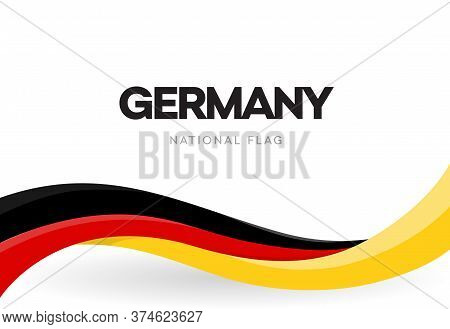 The Federal Republic Of Germany Waving Flag Banner. German Patriotic Red, Yellow And Black Ribbon Po