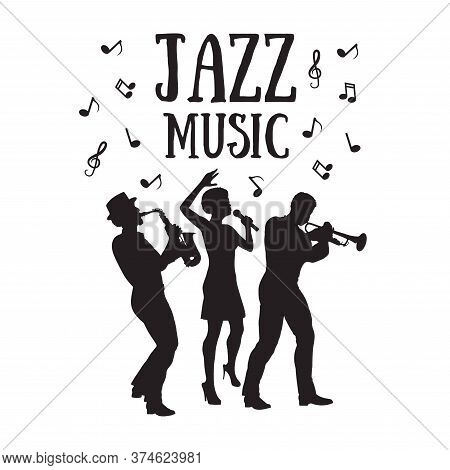 Jazz  Orchestra. Silhouettes  Of Trumpet Player, Saxophonist And African Woman Singer. 50's Or 60's