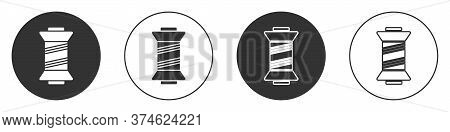 Black Sewing Thread On Spool Icon Isolated On White Background. Yarn Spool. Thread Bobbin. Circle Bu